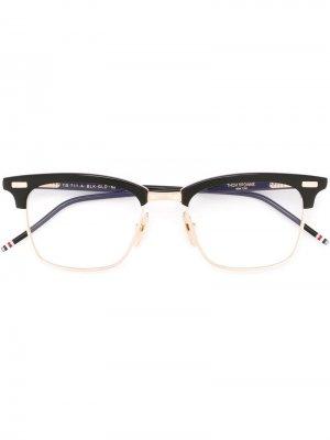 Очки с квадратной оправой Thom Browne Eyewear. Цвет: синий
