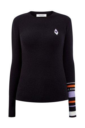 Джемпер из шерсти и кашемира с интарсийным узором Logo Remake VALENTINO. Цвет: черный