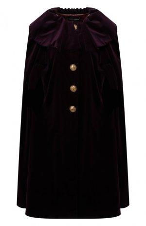 Бархатный кейп Dolce & Gabbana. Цвет: фиолетовый