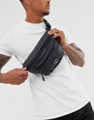 Черная матовая сумка-кошелек на пояс с логотипом -Черный Jack & Jones