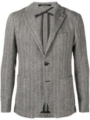 Твидовый пиджак в елочку Tagliatore. Цвет: черный