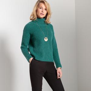 Пуловер однотонный с отворачивающимся воротником, из плотного трикотажа в рубчик ANNE WEYBURN. Цвет: зеленый,черный