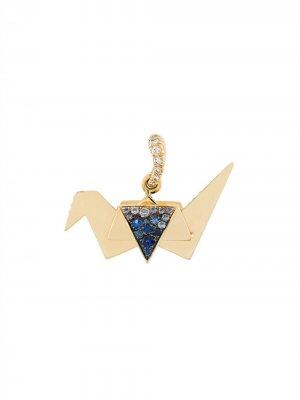 Подвеска Origami с сапфирами и бриллиантами Aurelie Bidermann. Цвет: золотистый