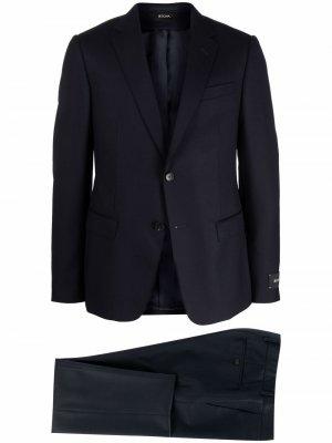 Шерстяной костюм с однобортным пиджаком Z Zegna. Цвет: синий