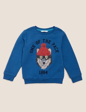 Свитшот с изображением волка для мальчика Marks & Spencer. Цвет: темный голубой