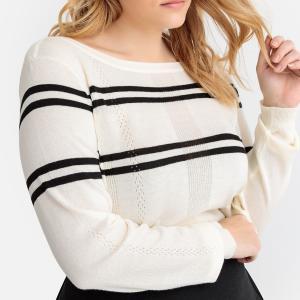 Пуловер в полоску с вырезом-лодочкой из тонкого трикотажа CASTALUNA. Цвет: в полоску