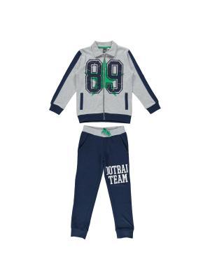 Спортивный костюм IDO. Цвет: серый, темно-синий