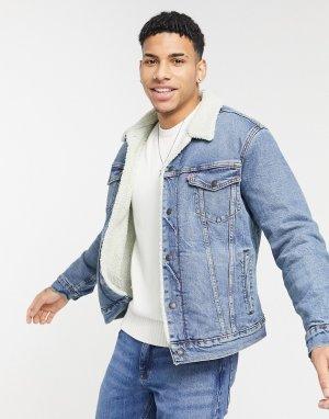 Синяя джинсовая куртка с подкладкой из искусственного меха Levis Youth Type 3-Голубой Levi's