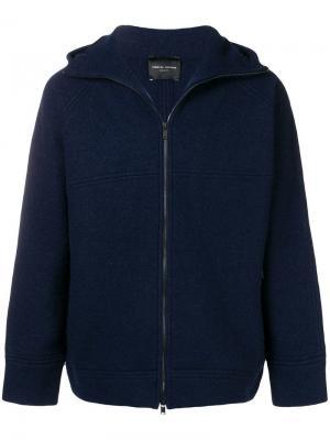 Куртка на молнии с капюшоном Roberto Collina. Цвет: синий