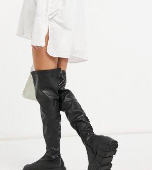 Черные ботфорты для широкой стопы на толстой подошве Public Desire Lingo-Черный цвет Wide Fit