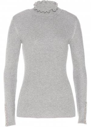 Пуловер с воротником-стойкой bonprix. Цвет: серый