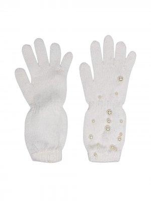Перчатки с искусственным жемчугом Monnalisa. Цвет: нейтральные цвета