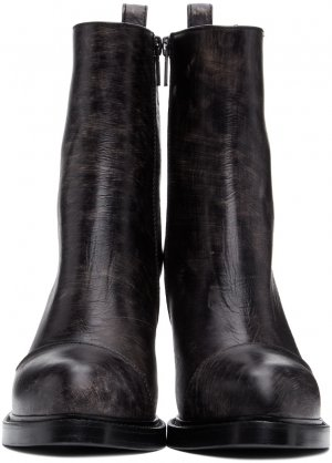 SSENSE Exclusive Black Foil Scrub Heeled Boots Ann Demeulemeester. Цвет: 099 foil/bl