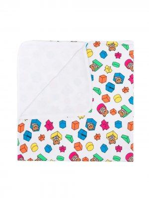 Одеяло с принтом Teddy Bear Moschino Kids. Цвет: белый