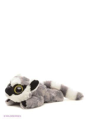 Юху и друзья Игрушка мягкая Лемур Лемми лежачий 16 см AURORA. Цвет: белый, коричневый, черный