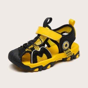 Двухцветные спортивные сандалии на липучке для мальчиков SHEIN. Цвет: многоцветный