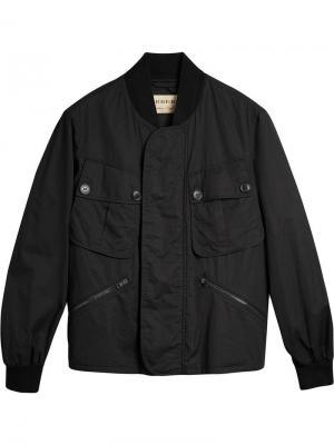 Куртка-бомбер с карманом Burberry. Цвет: черный