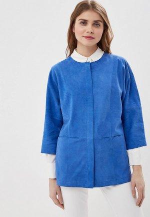 Куртка кожаная Madeleine. Цвет: синий