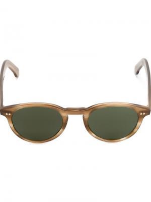 Солнцезащитные очки в круглой оправе Eleventy. Цвет: коричневый