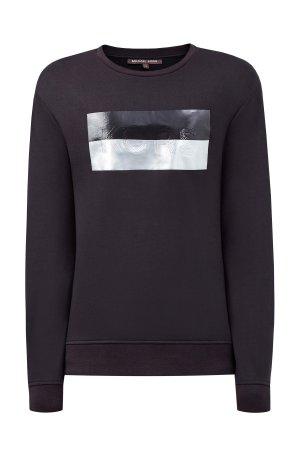 Хлопковый свитшот с металлизированной отделкой MICHAEL KORS. Цвет: черный