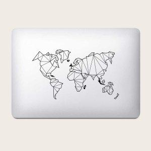 1 лист Наклейка для ноутбука с рисунком карты SHEIN. Цвет: чёрный