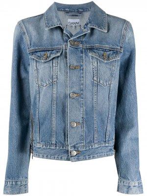 Джинсовая куртка с молниями GANNI. Цвет: синий