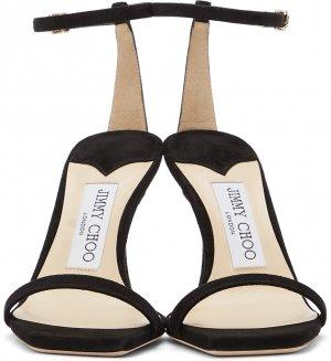 Black Suede Marin 90 Heeled Sandals Jimmy Choo. Цвет: black