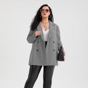 Двубортный пиджак с принтом хаундстут размера плюс SHEIN. Цвет: черный и белый