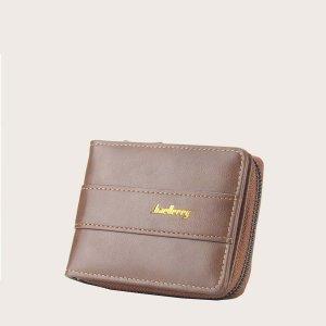 Мужской маленький кошелек с текстовым принтом и молнией SHEIN. Цвет: коричневые