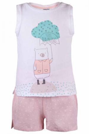 Пижама: топ, шорты Button Blue. Цвет: белый, розовый