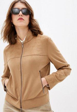 Куртка кожаная Max Mara Leisure. Цвет: бежевый