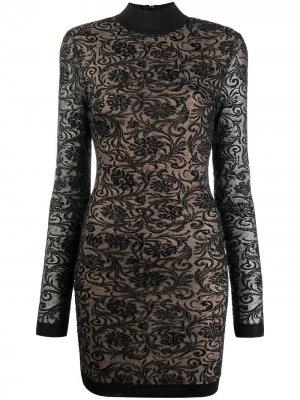 Кружевное платье с длинным рукавами Balmain. Цвет: черный