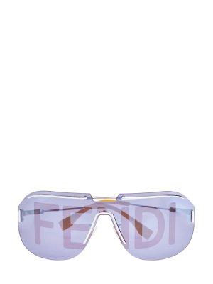 Очки-маска в легкой оправе с принтом на линзах FENDI (sunglasses). Цвет: мульти