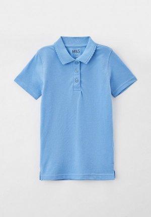 Поло Marks & Spencer. Цвет: голубой