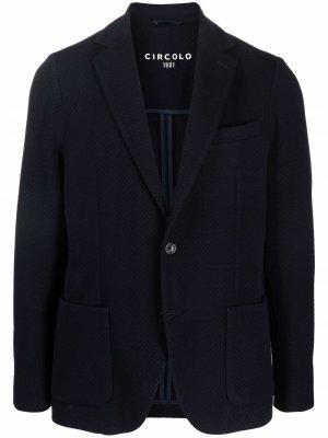 Строгий пиджак с узором шеврон Circolo 1901. Цвет: синий