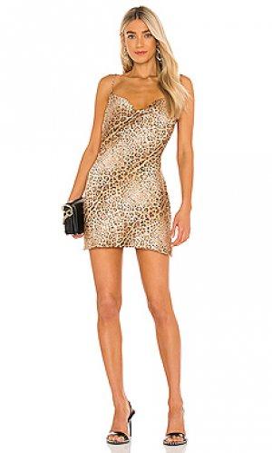 Платье-комбинация split hem Michael Costello. Цвет: коричневый