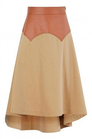 Бежевая юбка из хлопка и кожи Loewe. Цвет: бежевый