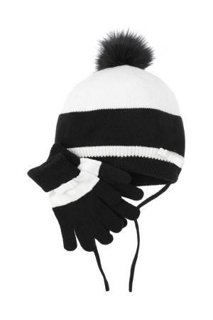 Комплект - шапка, перчатки PlayToday. Цвет: черный, белый