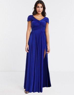 Фиолетовое платье макси с открытыми плечами -Фиолетовый Goddiva