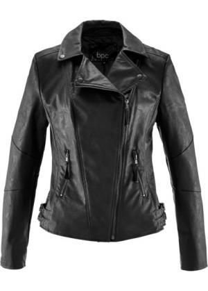Куртка-косуха из искусственной кожи (черный) bonprix. Цвет: черный