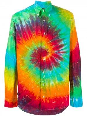 Рубашка с принтом тай-дай Gitman Vintage. Цвет: зеленый
