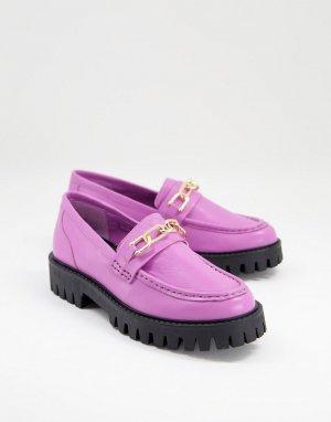 Кожаные лоферы фиолетового цвета на массивной подошве с золотистой цепочкой Freya-Фиолетовый цвет ASRA
