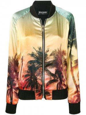 Куртка-бомбер с принтом захода солнца Balmain. Цвет: желтый