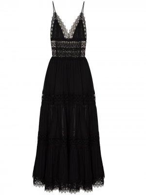 Платье макси Cindy с кружевом Charo Ruiz Ibiza. Цвет: черный