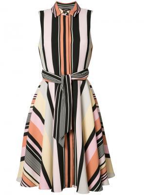 Платье шифт в полоску Badgley Mischka