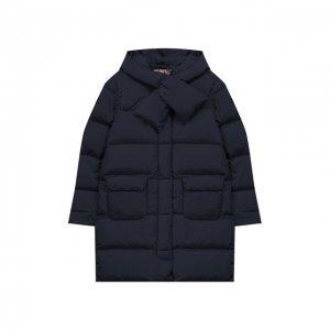 Пуховое пальто с капюшоном Il Gufo. Цвет: синий
