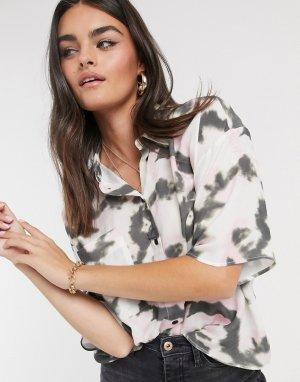 Рубашка с короткими рукавами и принтом тай-дай -Мульти ASOS DESIGN