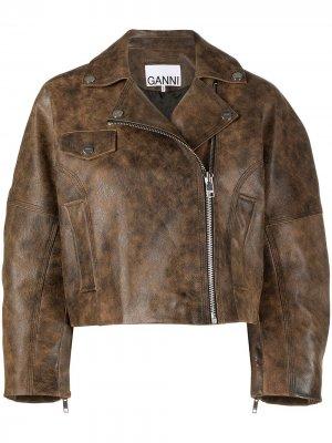 Укороченная куртка GANNI. Цвет: коричневый