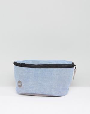Голубая сумка-кошелек на пояс из ткани шамбре Mi-Pac. Цвет: серый