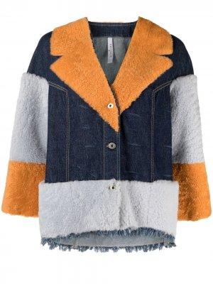 Джинсовая куртка с мехом Suprema. Цвет: синий